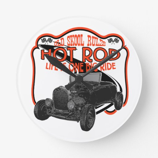 Hot Rod Round Wallclocks