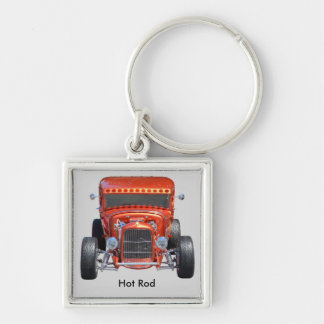 Hot  Rod Silver-Colored Square Keychain