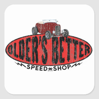 Hot rod speed shop logo square sticker
