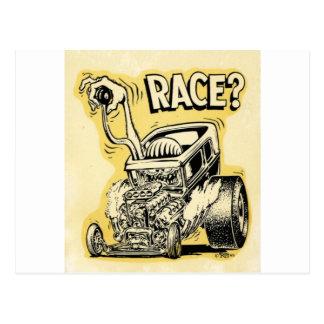 hot rod wanna race monster cartoon oldschool postcard