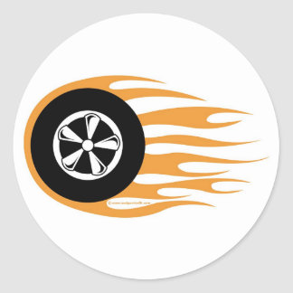 Hot rod wheel with flames classic round sticker