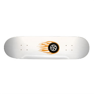 Hot rod wheel with flames skateboard