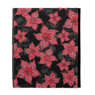 Hot Rodder Pinstriped Hibiscus and Skull iPad Folio Case