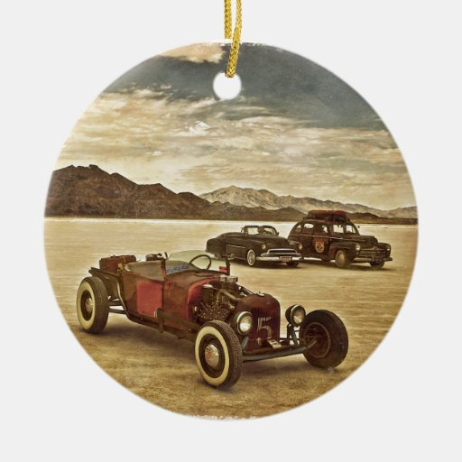 Hot Rods at Bonneville Double-Sided Ceramic Round Christmas Ornament