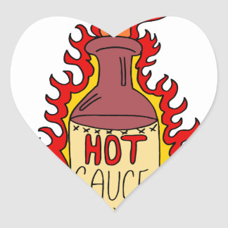 Hot Sauce Bottle Cartoon Heart Sticker