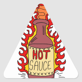 Hot Sauce Bottle Cartoon Triangle Sticker