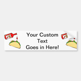 Hot sauce dripping on taco car bumper sticker