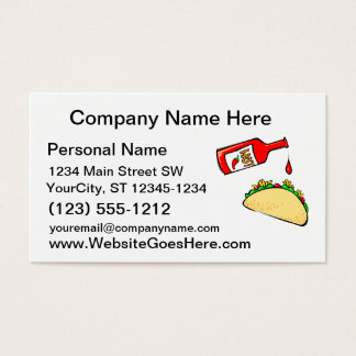 Hot sauce dripping on taco business card