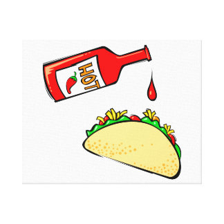 Hot sauce dripping on taco canvas print