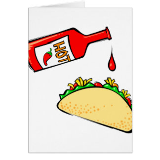 Hot sauce dripping on taco card