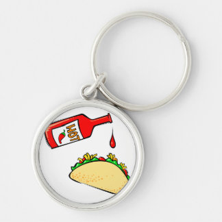 Hot sauce dripping on taco keychain