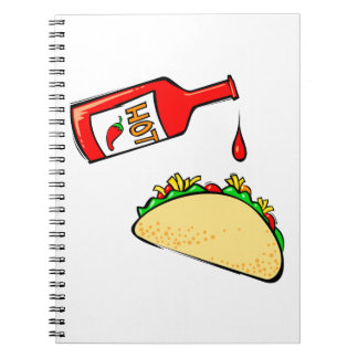 Hot sauce dripping on taco notebook