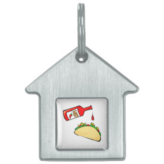 Hot sauce dripping on taco pet name tag