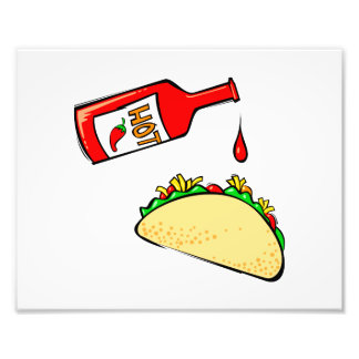Hot sauce dripping on taco photo