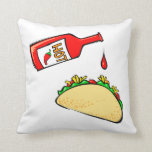 Hot sauce dripping on taco pillows