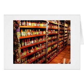 Hot sauces galore card