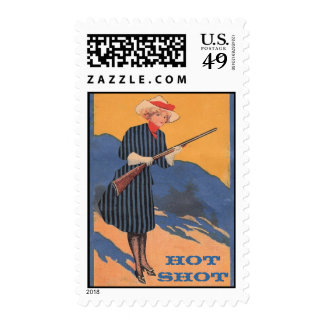 Hot Shot Cowgirl Postage Stamps