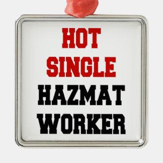Hot Single Hazmat Worker Metal Ornament