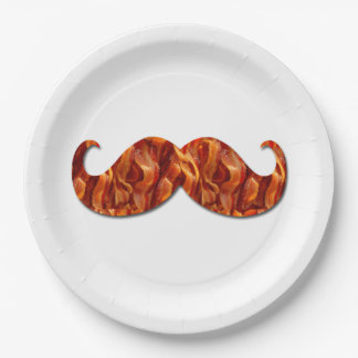 Hot Sizzling Yummy Mustache Bacon Texture Paper Plate