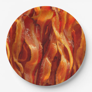 Hot Sizzling Yummy Salty Bacon Texture Paper Plate