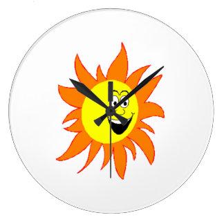 Hot Smiling Sun Large Clock