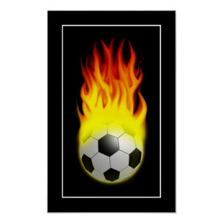 Hot Soccer Ball on Fire - POSTER