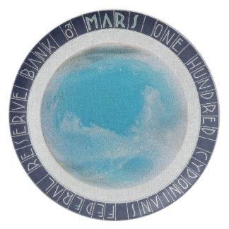 Hot Space Wheels Blue MARS Money 100 Cydonians Dinner Plate