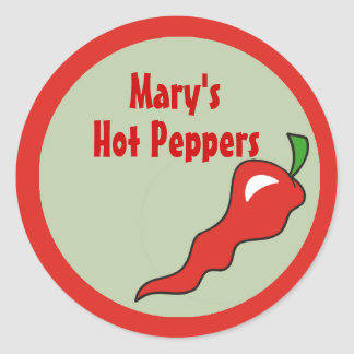Hot Spicy Colors and Red Pepper Labels Classic Round Sticker