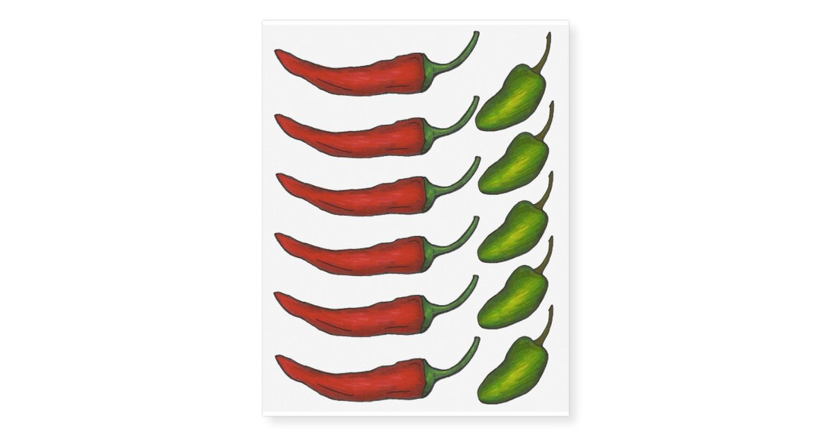 Hot Spicy Green Jalapeno Red Chili Chile Pepper Temporary