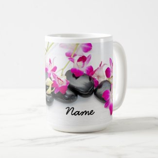 Hot stone with purple orchid for Spa Coffee Mug