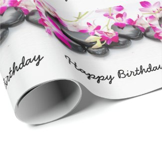 Hot stone with purple orchid Happy Birthday Wrapping Paper