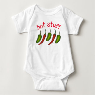 Hot Stuff Baby Red Green Chili Jalapeño Peppers Baby Bodysuit