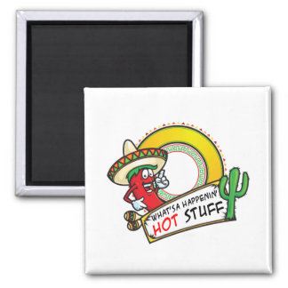 Hot Stuff Spicy Red Pepper Mexico 2 Inch Square Magnet