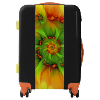 Hot Summer Green Orange Abstract Colorful Fractal Luggage
