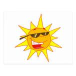 Hot Sun Cartoon Character Postcard