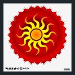 """HOT SUN WALL STICKER<br><div class=""""desc"""">A colorful stylized sun on a bold red gradient creating a southwestern art look.</div>"""