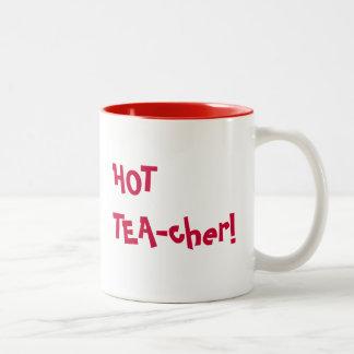 Hot Teacher - HOT TEA-cher funny pun Two-Tone Coffee Mug