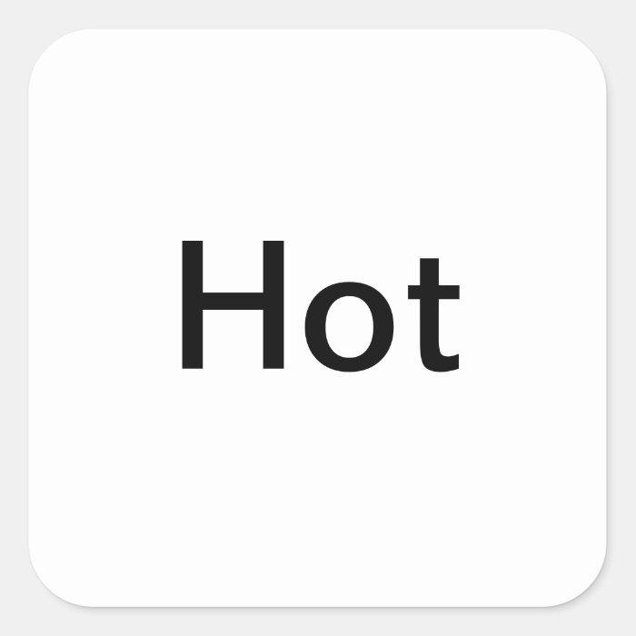 """Hot"" Temperature Setting Labels/ Square Sticker"