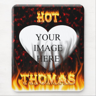 Hot Thomas fire and flames red marble Mouse Pad