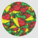 Hot Tomato Peppers Round Stickers