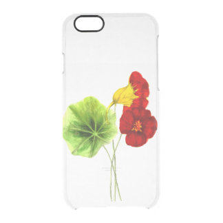 Hot trend greenery and red painting floral clear iPhone 6/6S case