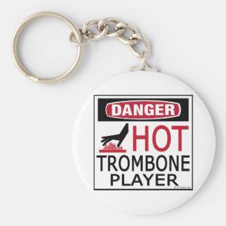 Hot Trombone Player Basic Round Button Keychain