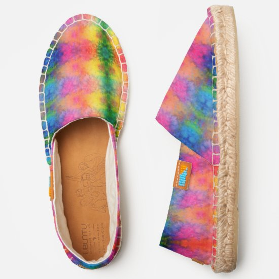 Hot Tropical Colors Fractal Tie-Dye Espadrilles