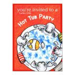 Hot Tub Party Funny Manatees Off-Leash Art™ Red Card