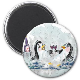 Hot Tub Penguins! 2 Inch Round Magnet