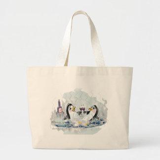 Hot Tub Penguins_bl Tote Bag
