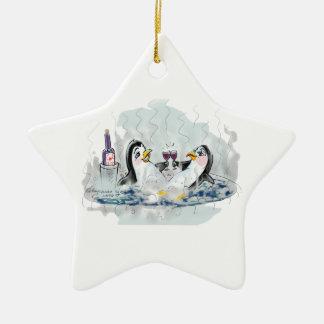 Hot Tub Penguins Ceramic Ornament
