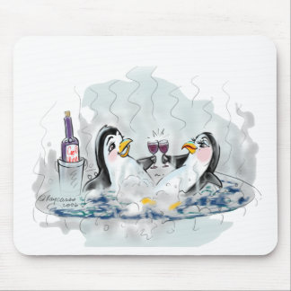 Hot Tub Penguins Mouse Pad