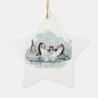 Hot Tub Penguins Double-Sided Star Ceramic Christmas Ornament