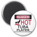 Hot Tuba Player 2 Inch Round Magnet